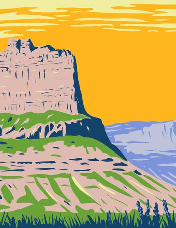 Scotts Bluff National Monument Located near the City of Gering in Nebraska Along the North Platte River WPA Poster