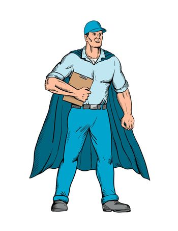 Worker as a Superhero Wearing a Cape and Holding a Clipboard Standing Viewed from Front Cartoon Style