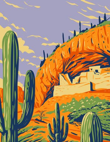 Salado-Style Cliff Dwelling and Saguaro Cactus in Tonto National Monument in Superstition Mountains Located in Gila County Arizona WPA Poster Art