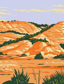 North Dakota Badlands in Theodore Roosevelt National Park Located in Medora North Dakota WPA Poster Art