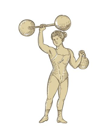 Vintage Circus Strongwoman Female or Lady Strongman Lifting Barbell on One Hand and Kettlebell in Etching Engraving Style