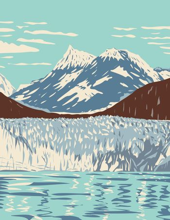 Glacier Bay National Park and Preserve with Tidewater Glaciers Mountains Fjords Located West of Juneau Alaska WPA Poster Art