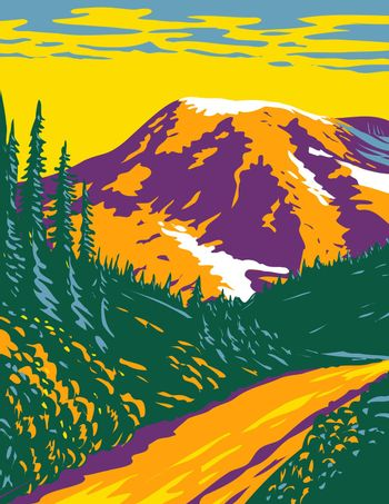 Mount Rainier National Park an Active Stratovolcano in the Cascades Located in Pierce County and Lewis County in Washington State WPA Poster Art