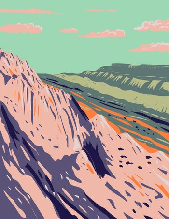 Waterpocket Fold in the Strike Valley Located in Capitol Reef National Park in South-Central Utah WPA Poster Art