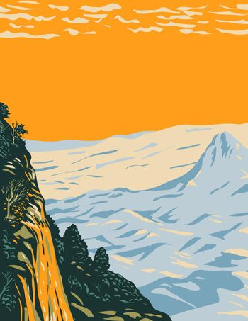 The Chihuahuan Desert Landscape in Big Bend National Park Covering West Texas Bordering Mexico WPA Poster Art