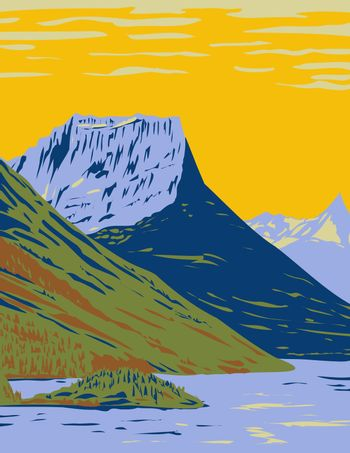 Waterton-Glacier International Peace Park the Union of Waterton Lakes National Park in Canada and Glacier National Park in the United States WPA Poster Art