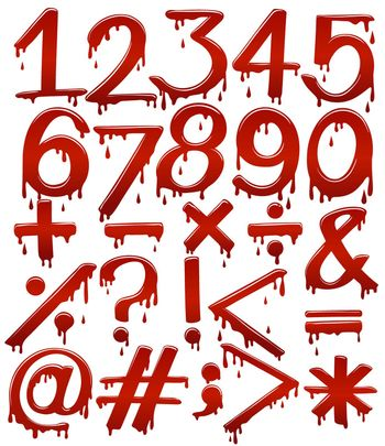 Numerical figures in bloody template