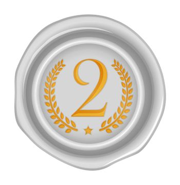 Sealing wax stamp vector illustration ( number, ranking )   2nd (silver)