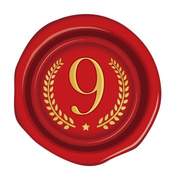 Sealing wax stamp vector illustration ( number, ranking )   9th (red)
