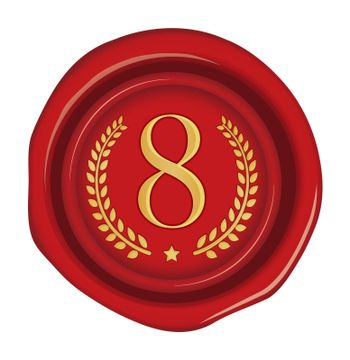 Sealing wax stamp vector illustration ( number, ranking )   8th (red)