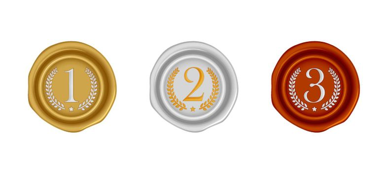 Sealing wax stamp vector illustration set ( number, ranking ) from 1st to 3rd (gold, silver, bronze )