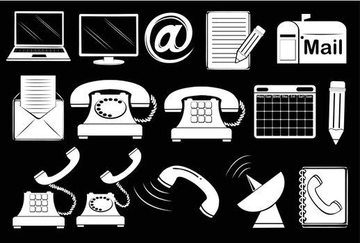 Set of communication tools on a black background
