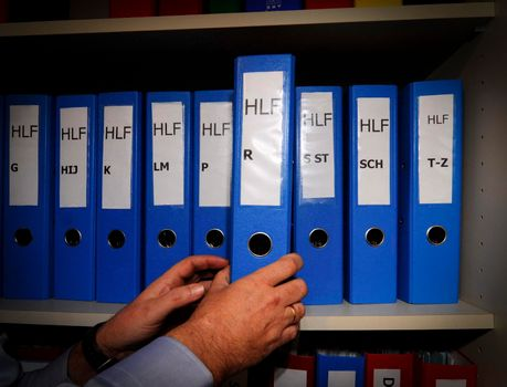 files and documents in the archive in the office administration and organization