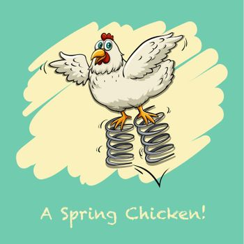 Chicken bouncing on springs