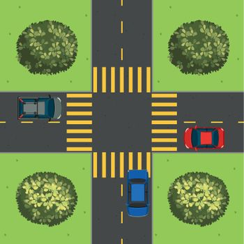Aerial view of cars at intersection