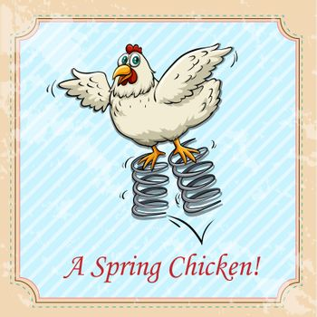 Chicken bouncing on spring