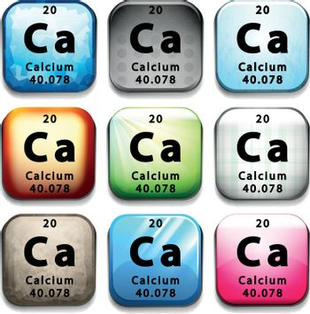 A button showing the chemical element Calcium
