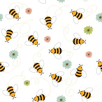 Seamless pattern of bees and flowers