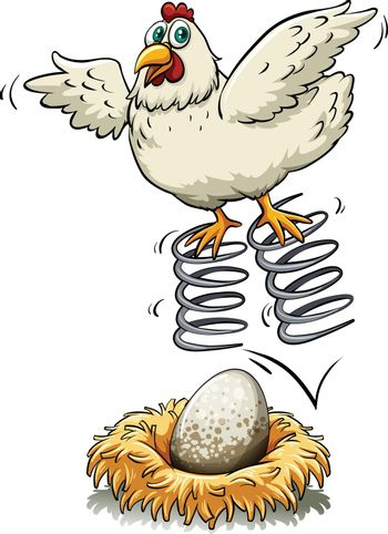 Chicken bouncing on spring over an egg