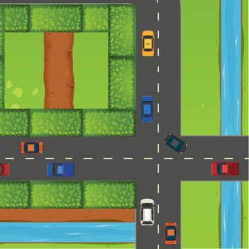 Intersection with a lot of cars
