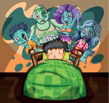 Boy in bed having nightmare