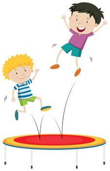 Boys jumping on trampoline