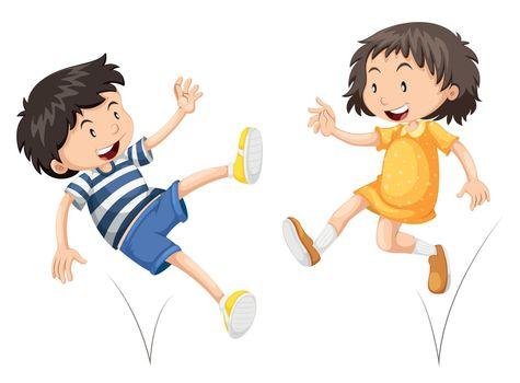 Boy and girl bouncing