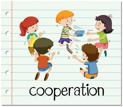 Word card with cooperation