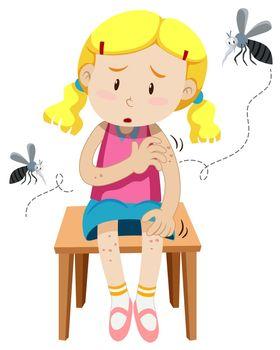 Girl got bitten by mosquitos