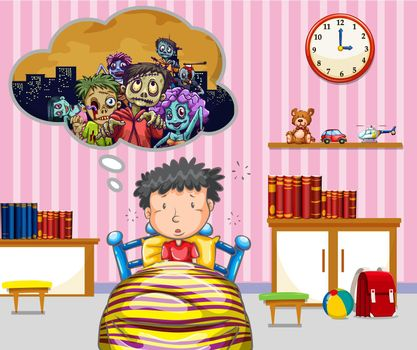 Little boy having nightmare