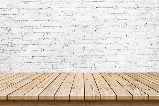 empty wooden table top on white brick wall background, used for display or montage your products