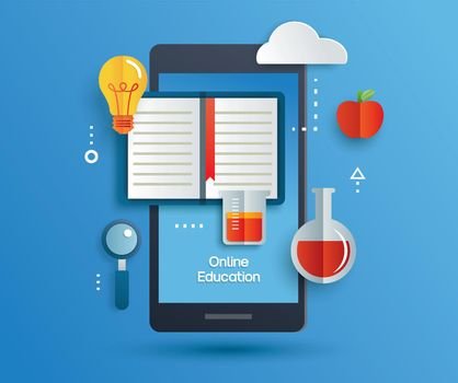 Online education learning on mobile phone. Learning at home with social distancing concept.