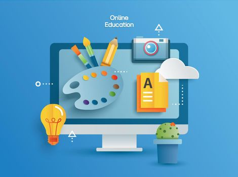 Online education learning on computer. Learning at home with social distancing concept.