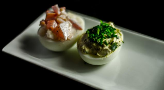 stuffed eggs with hand-made stuffing, healthy and tasty snack