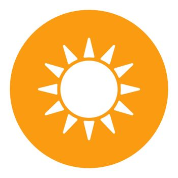 Sun vector isolated white glyph icon. Weather sign