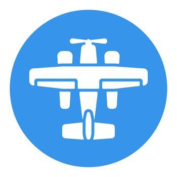 Small amphibian seaplane, plane flat vector white glyph icon