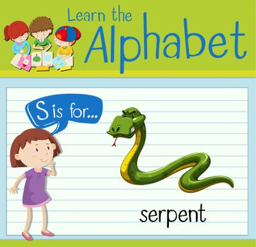 Flashcard letter S is for serpent