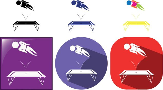 Gymnastics with trampoline icons