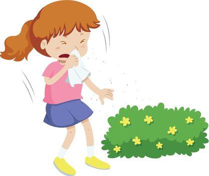 Girl having allergy from pollen
