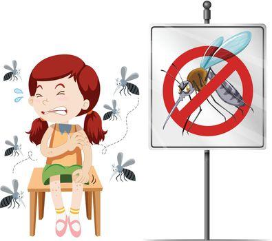 Girl got bitten by mosquitoes