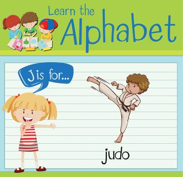 Flashcard letter J is for judo
