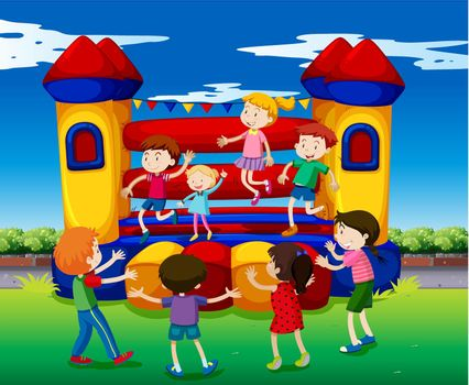 Kids bouncing on the playhouse