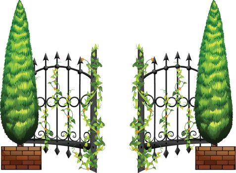 Metal fence with pine tree on sides
