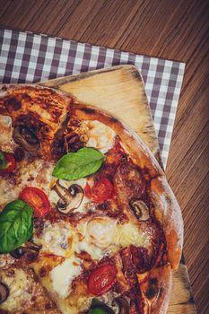 Food Background. Restaurant Still Life. Tasty Hot Pizza. Delicious Fast Food. Traditional Italian Dish.