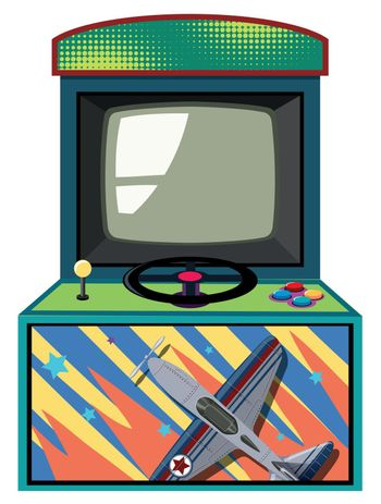 Arcade game box with flying jet