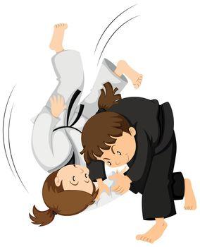 Two girls playing judo