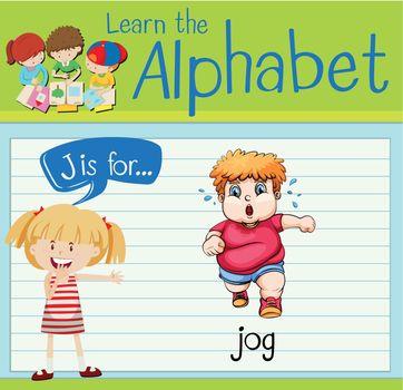 Flashcard letter J is for jog