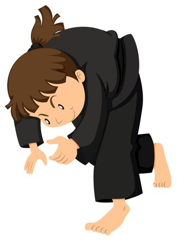 Girl in black outfit doing judo