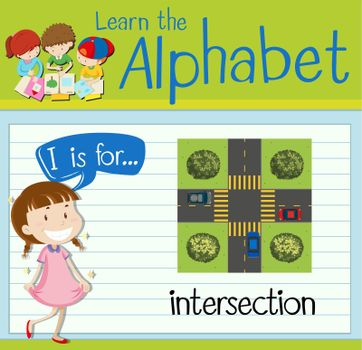 Flashcard letter I is for intersection