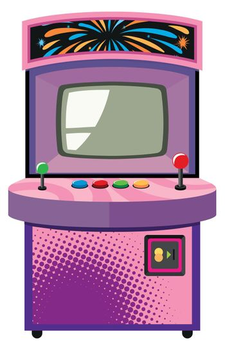Arcade game machine in purple box